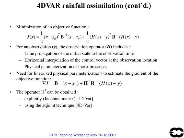 4DVAR rainfall assimilation (cont'd.)