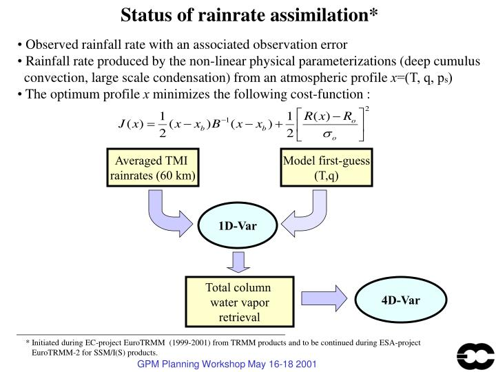 Status of rainrate assimilation*