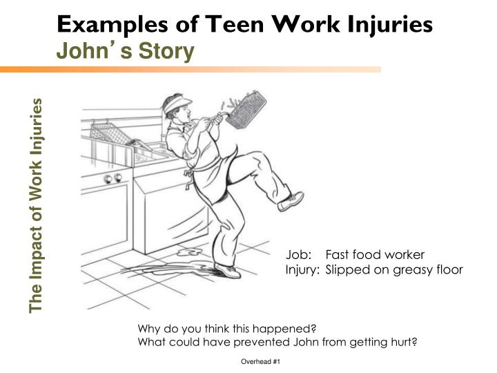 Examples of Teen Work Injuries