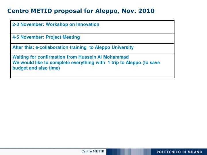 Centro METID proposal for Aleppo, Nov. 2010