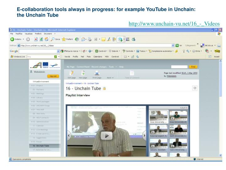 E-collaboration tools always in progress: for example YouTube in Unchain: