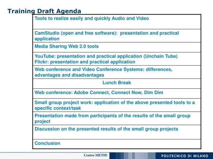Training Draft Agenda