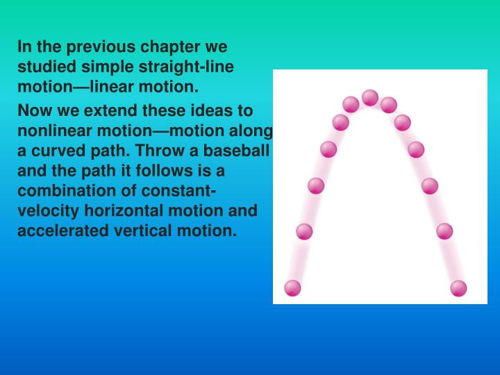 In the previous chapter we studied simple straight-line motion—linear motion.