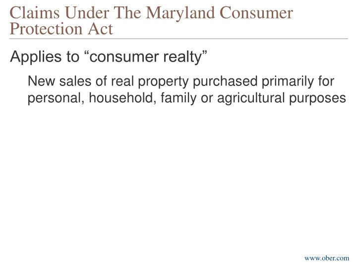 Claims Under The Maryland Consumer Protection Act