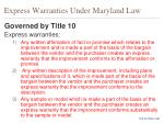express warranties under maryland law2