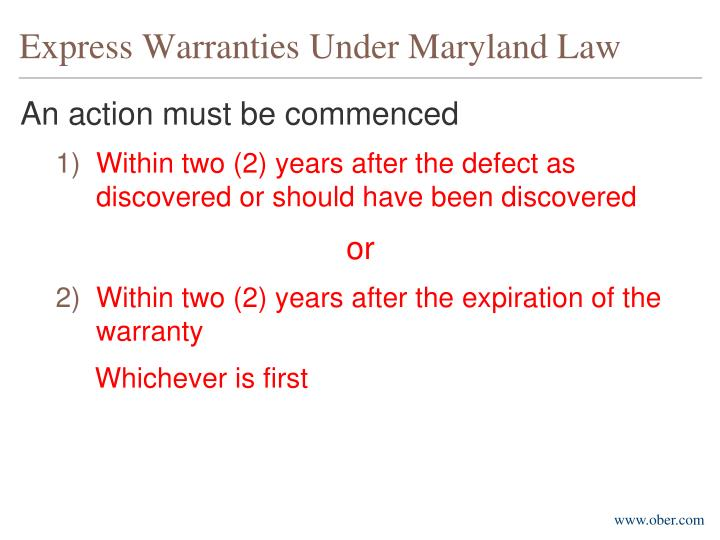 Express Warranties Under Maryland Law