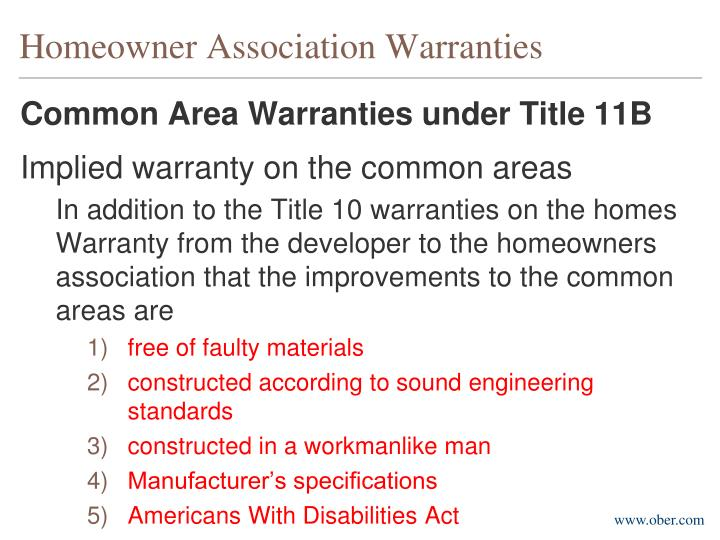 Homeowner Association Warranties
