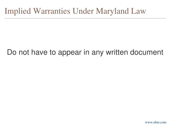 Implied warranties under maryland law1