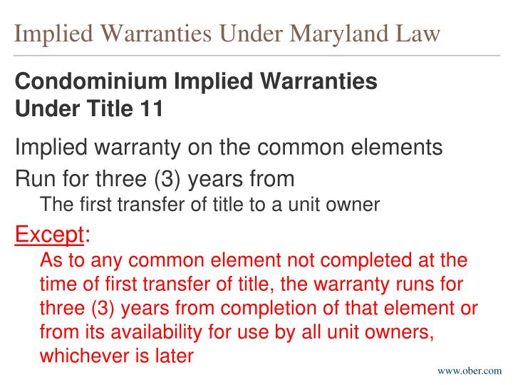 Implied Warranties Under Maryland Law