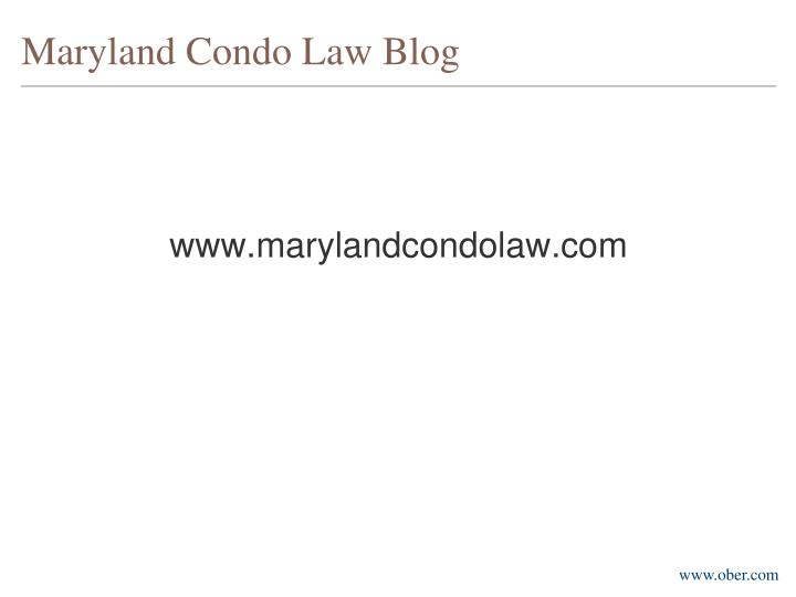 Maryland Condo Law Blog