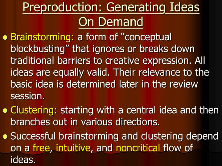 Preproduction: Generating Ideas On Demand