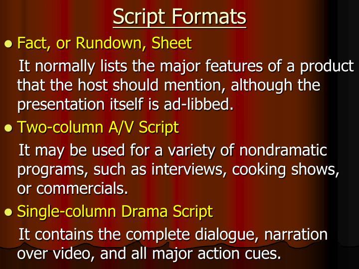 Script Formats