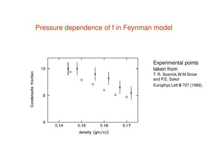 Pressure dependence of f in Feynman model
