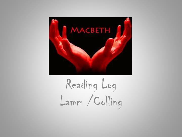 Reading log lamm colling
