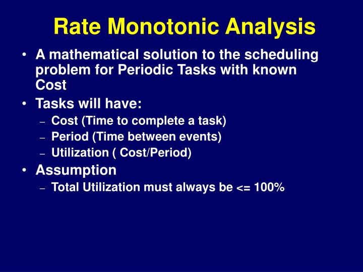 Rate Monotonic Analysis