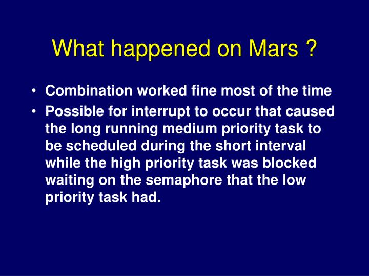 What happened on Mars ?