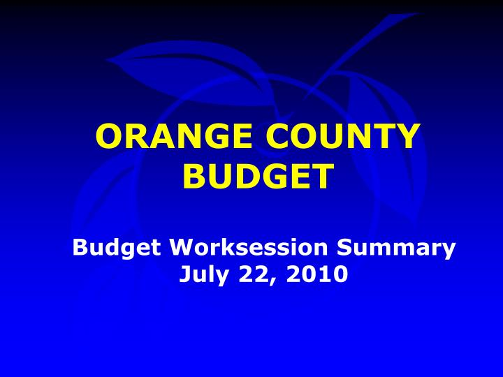 Budget worksession summary july 22 2010
