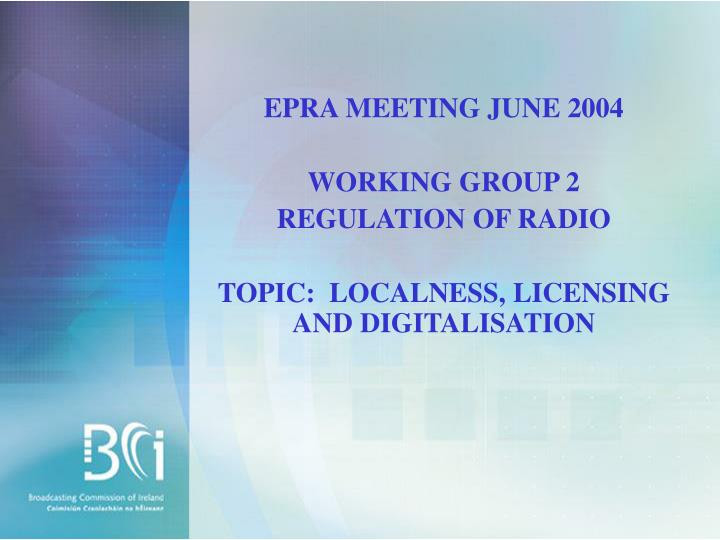 EPRA MEETING JUNE 2004