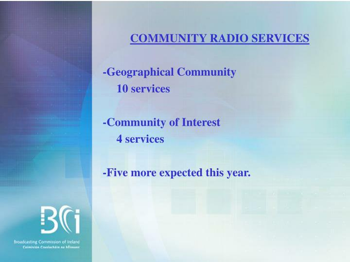 COMMUNITY RADIO SERVICES