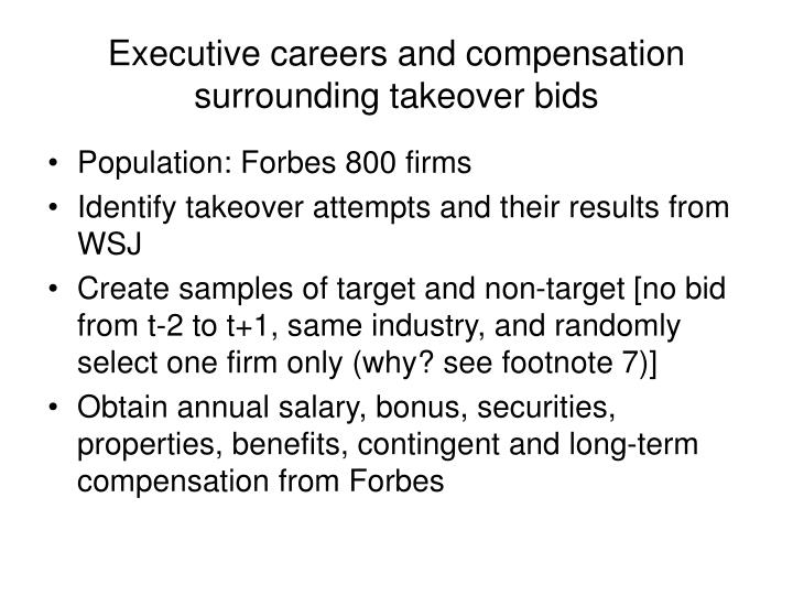 Executive careers and compensation surrounding takeover bids1