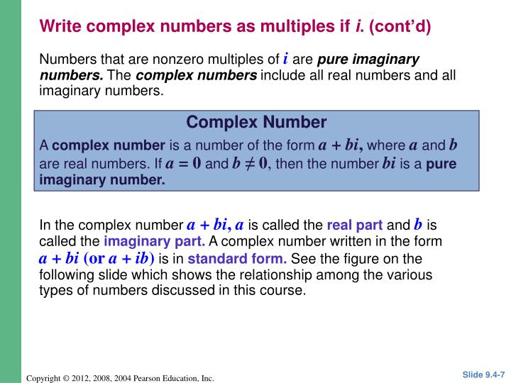 Write complex numbers as multiples if