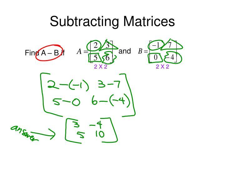 Subtracting Matrices