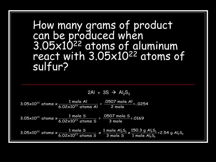 How many grams of product can be produced when 3.05x10