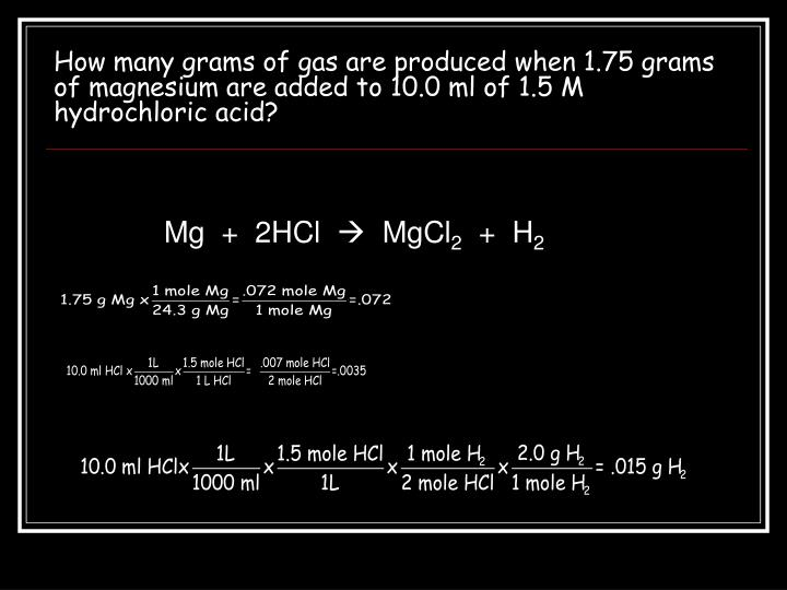 How many grams of gas are produced when 1.75 grams of magnesium are added to 10.0 ml of 1.5 M hydrochloric acid?