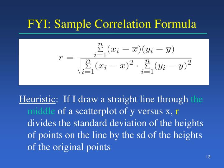 FYI: Sample Correlation Formula