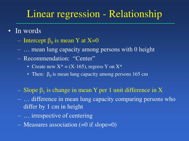 Linear regression - Relationship