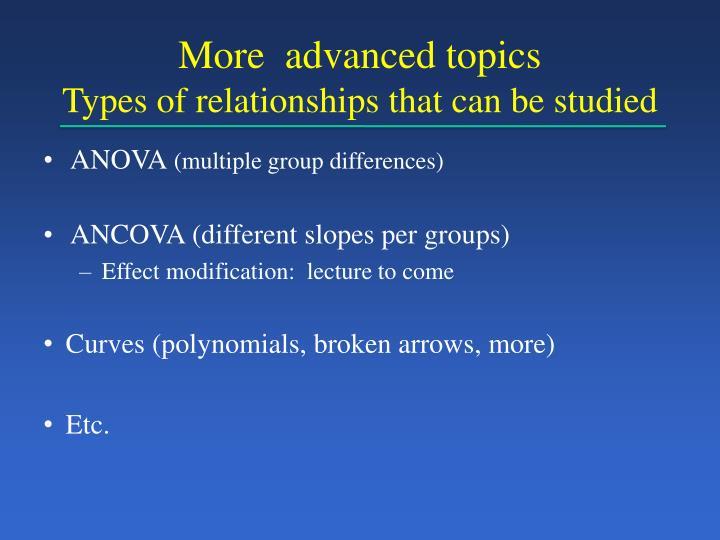 More  advanced topics