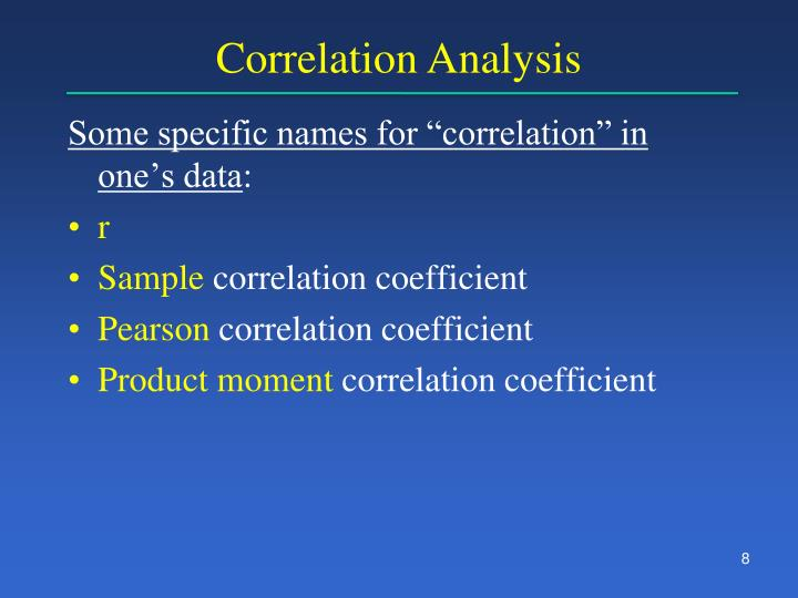 "Some specific names for ""correlation"" in one's data"
