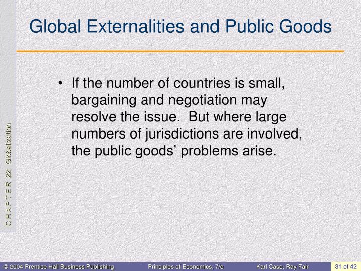 Global Externalities and Public Goods
