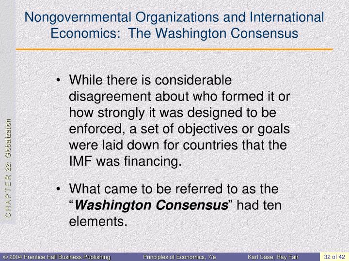 Nongovernmental Organizations and International Economics:  The Washington Consensus