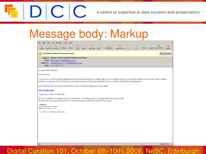 Message body: Markup