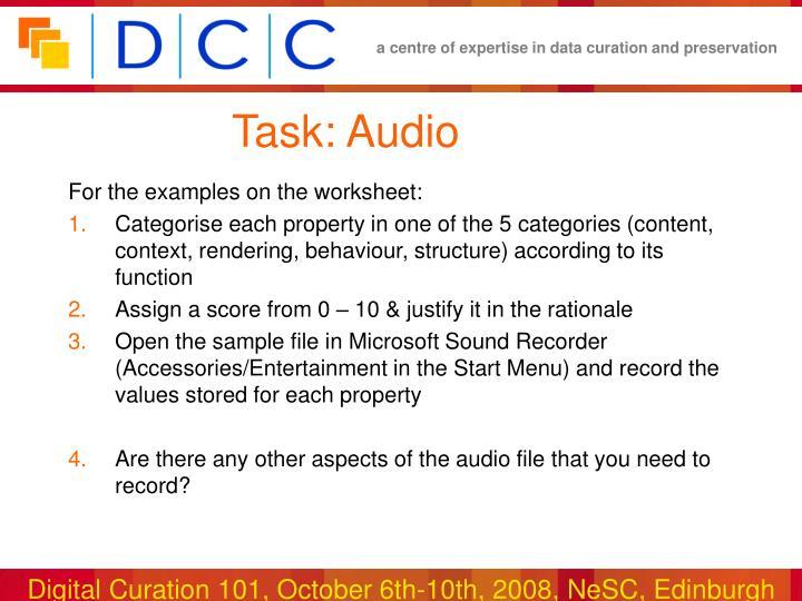 Task: Audio