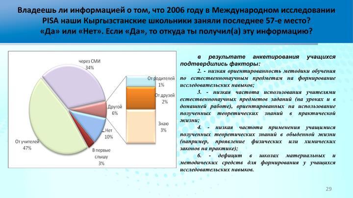 Владеешь ли информацией о том, что 2006 году в Международном исследовании