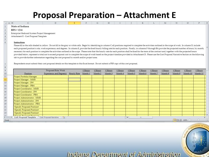 Proposal Preparation – Attachment E