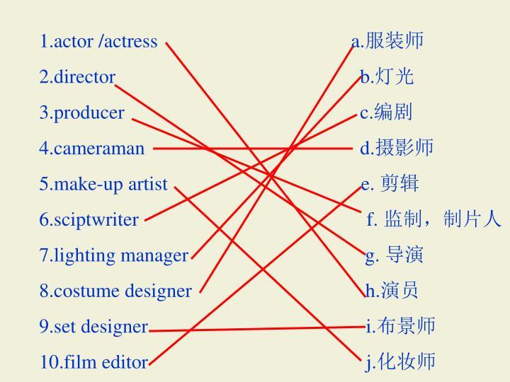 1.actor /actress                                       a.
