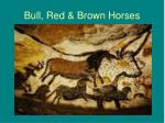 bull red brown horses