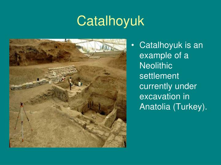 Catalhoyuk is an example of a Neolithic settlement currently under excavation in Anatolia (Turkey).