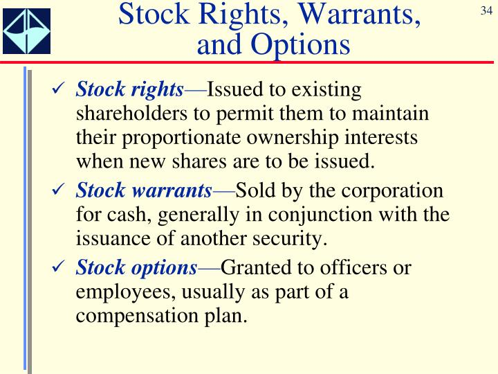Stock options stock warrants