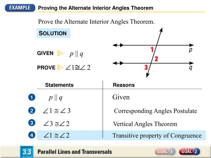 Proving the Alternate Interior Angles Theorem