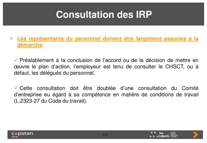 Consultation des IRP