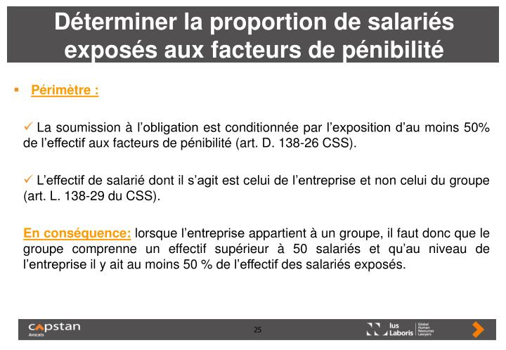 Déterminer la proportion de salariés exposés aux facteurs de pénibilité