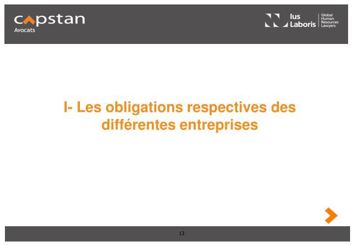 I- Les obligations respectives des différentes entreprises
