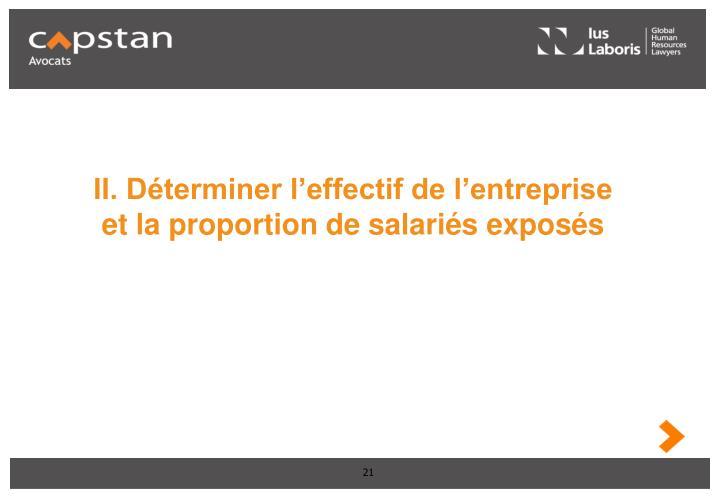 II. Déterminer l'effectif de l'entreprise et la proportion de salariés exposés