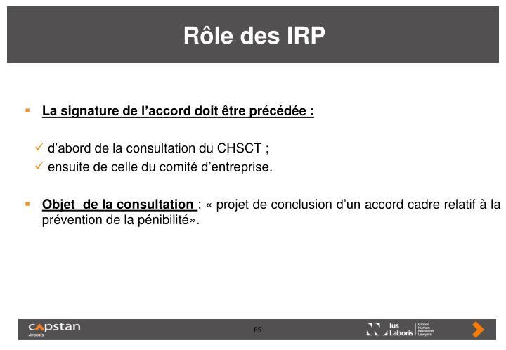 Rôle des IRP