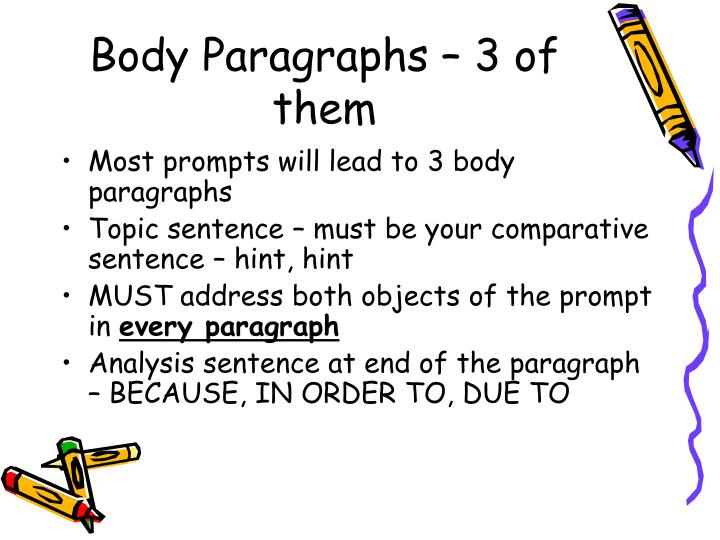 Body Paragraphs – 3 of them