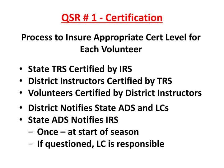 QSR # 1 - Certification